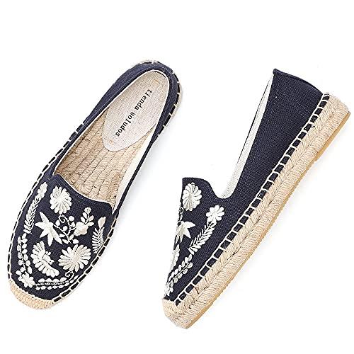 LYNLYN Gestickte Schuhe für Frauen Womens Casual Espadrilles Slip auf atmungsaktiven Flachs Hanf Leinwand für Mädchen Schuhe Mode Stickerei Komfortable Damen Mädchen Gestickte Fersen - 5
