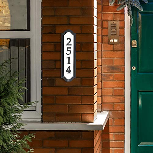 Whitehall Products Nite Bright Address Sign, 16  x 4.5 , Black Numbers White Reflective Background