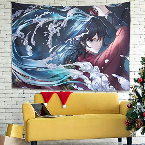 Hothotvery Tapiz de pared Giyu Tomioka impreso, respetuoso con la piel, decoración para salones blancos, 150 x 150 cm