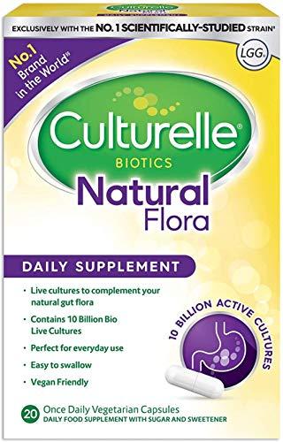 Culturelle Biotics Natural Flora Daily Supplement Aids natural gut flora - 20 Vegetarian Capsules - 10 Billion live Bacterial Cultures + Prebiotic Inulin Lactobacillus rhamnosus GG strain gluten free