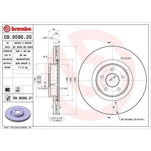 Bremsscheibe COATED DISC LINE - Brembo 09.9586.21
