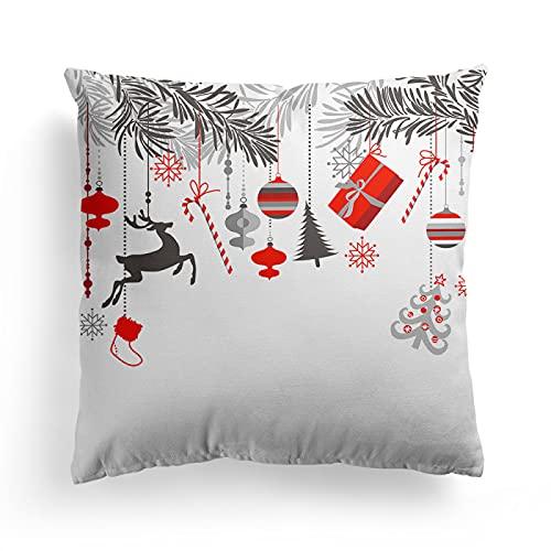 MissW Funda De Almohada Decorativa Serie Santa's Elk Sin Núcleo De Almohada Y Funda De Cojín con Cremallera Adecuada para Sofá Silla Coche