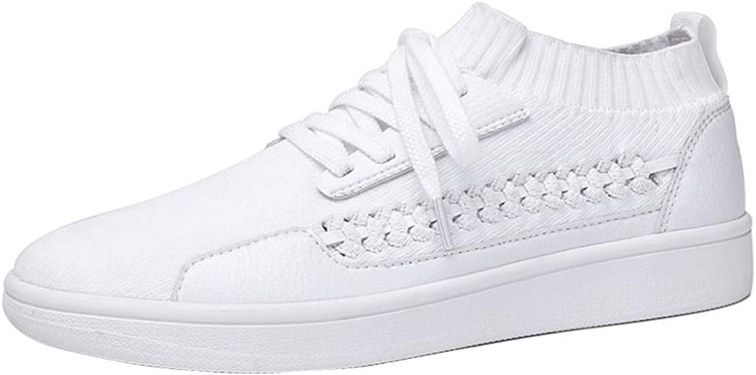 Unisex Sneakers Little White shoes, Flying Weaving Training Lightweight Fitness Running shoes, Mesh Breathable Hiking Jogging Sports shoes, Walk, Jobs, Student,White,38