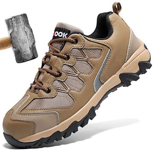 ashion Stahlkappe Sicherheitsschuhe Herren, Industrie Handwerk Schuhe Atmungsaktiv Leichte Reflektierende Arbeitsschuhe(A-Braun,43 EU)