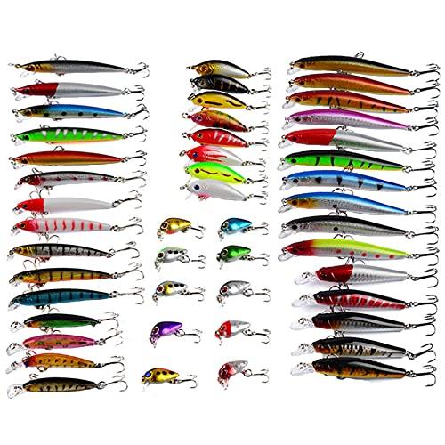 RoseFlower Señuelos de Pesca Spinning Mar, Minnow Crankbait Biónico Artificial Cebo Blando Jigging Atun para Black Bass Pesca Lucio Perca Trucha 48 Piezas
