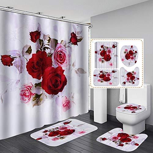 Hankyky Rose Dusche Vorhang Set romantische Rose Blume Druck Dusche Vorhang Boden Matte Badezimmer Wc Pad Stoff Badezimmer Dekor Set mit Haken Valentinstag Badezimmer