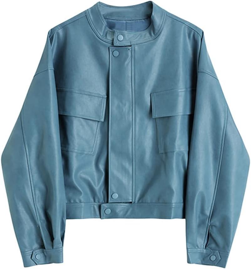 GPPZM Spring Women Faux Leather Jacket Ladies Moto Biker Street Coat Pockets Loose Short Pu Leather Overcoat (Color : Blue, Size : One Size)