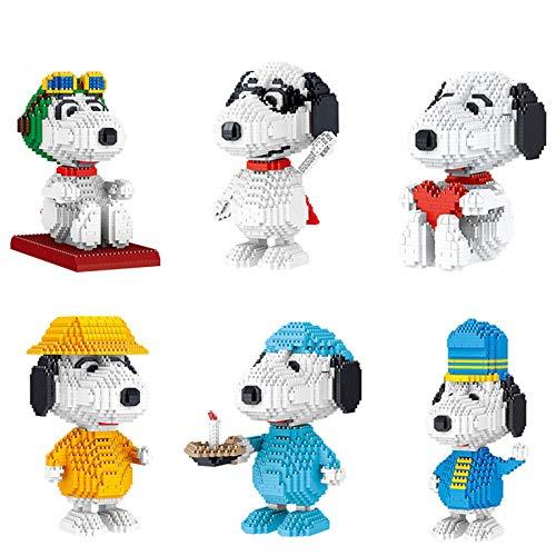 RSVT Juego De Bloques De Construcción Mini, Juguetes De Construcción De Modelo Snoopy para Niños Mayores De 8 Años, Regalos De Cumpleaños (Paquete De 6)