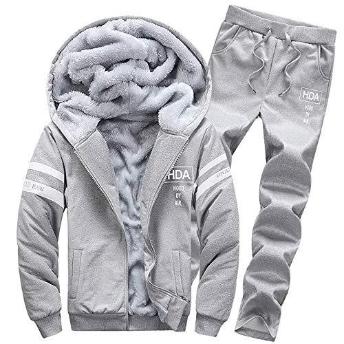 Strungten Herren Pullover Winter Hoodie Winter warme Fleece Zipper Sweater Jacke Outwear Mantel Warm Casual Trainingsanzug Mit Kapuze Zwei-Teilig Jogginganzug Sportanzug Lange Ärmel Freizeitanzug