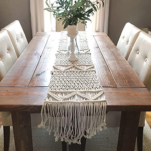 Camino de mesa de macramé, camino de mesa, camino de mesa bohemio...