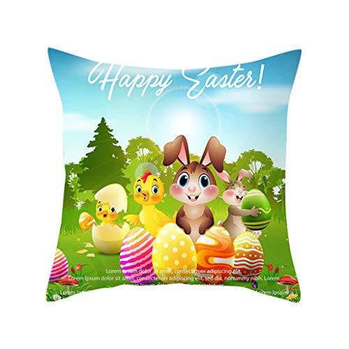 Sylar Funda Funda Almohada Feliz Pascua Funda de Almohada Decorativa Huevos de Conejo Almohada de Pascua Funda de Almohada con Estampado