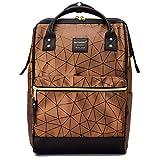 Mengen Sac à dos géométrique en cuir synthétique pour ordinateur portable 15,6' Rose, 5-005# Marron (marron) - enze