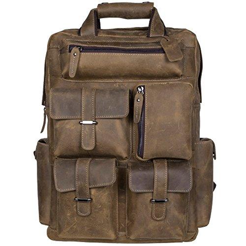 S-ZONE Herren Echtes Leder Rucksack Handgefertigte 15-17 Inch Laptop Weekender Tasche Daypack Große Reisetasche Sporttasche mit Mehreren Taschen