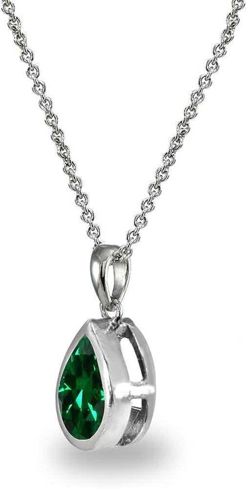 Sterling Silver Genuine or Synthetic Gemstone 8x6mm Teardrop Bezel-Set Dainty Pendant Necklace