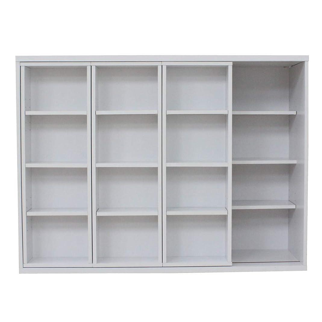 アニメーション老朽化したライブスライド 本棚 トリプルスライド コミック スライド本棚 書棚 DVD収納 CD収納 大容量 棚 収納棚 木製 ホワイト TCP312-WH