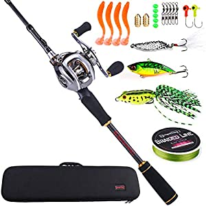 Sougayilang Baitcasting Travel Fishing Rod Reel Combos Baitcasting Fishing Reel-4PC Protable Fishing Pole with Fishing Carrier Bag -1.8M Left Handed