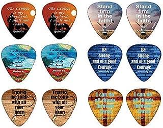 Christian Guitar Picks Popular Bible Verses -12 Pack Celluloid Medium - Cool Acoustic Electric guitar Accessories - Unique Gift for Men Women Guitarists - Best Stocking Stuffers