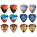 Christian Guitar Picks Popular Bible Verses -12 Pack Celluloid Medium - Cool Acoustic Electric guitar Accessories - Unique Gift for Men Women Guitarists - Best Stocking Stuffers