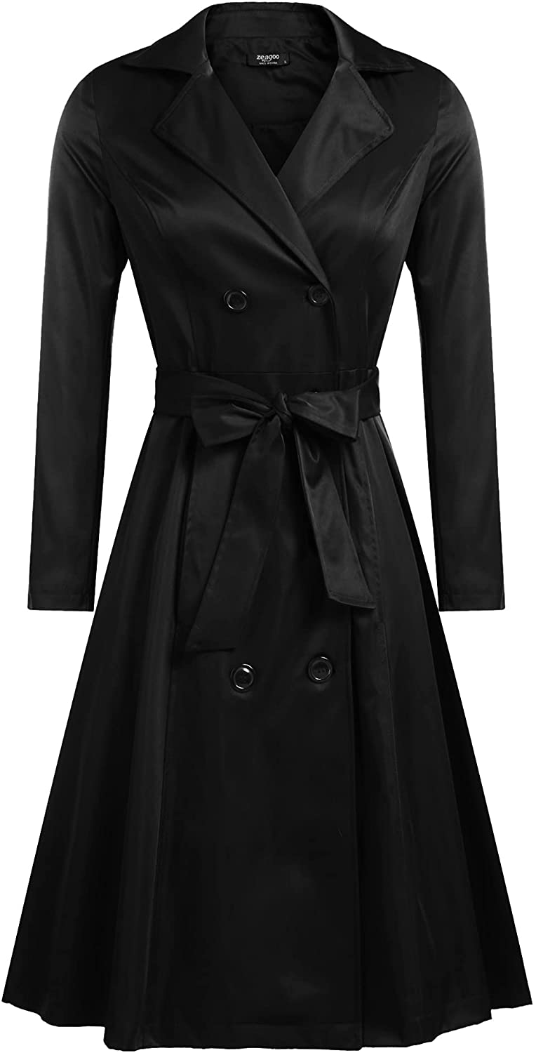 Zeagoo Max 50% OFF Women's At the price of surprise Trench Coats Double-Breasted Long Belt with Coat