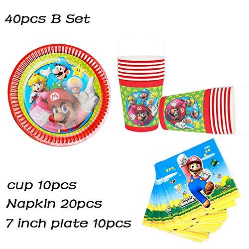 Platos Vajilla Fiesta Bros Theme Party Paper Plate Cup Servilleta Vajilla Desechable Niños Boy Happy Birthday Party Supplies Decoración, 40Pcs Mario