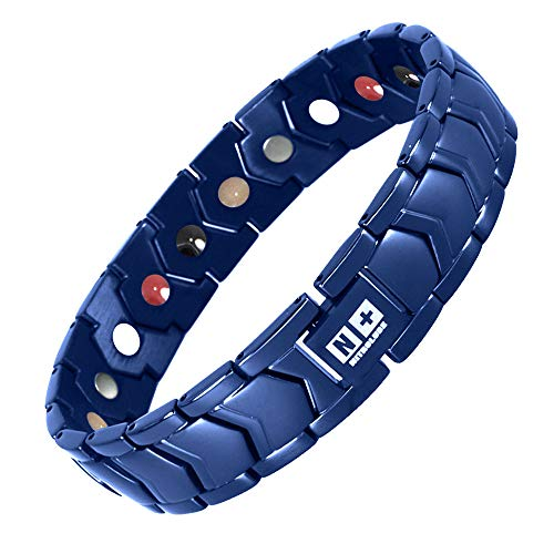 Magnetic Bracelets for Men N+NITROLUBE Mens Stainless Steel Bracelet Therapy Fashion Magnetic Jewelry Father's Day Gift (Blue, 8.66 inches)