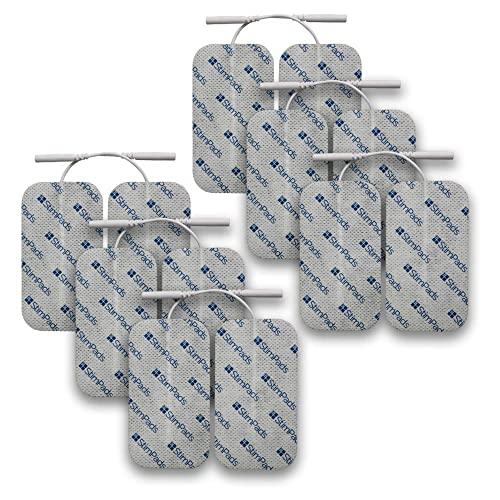 StimPads, 50X90mm, Pack de 12 Unidades de Alto Rendimiento, electrodos TENS - EMS de Larga duración con Conector Universal Tipo Pin de 2mm