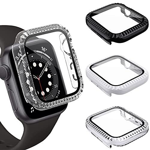 FITA [3 Piezas] Estuche Compatible con Apple Watch Series 6/5/4/SE 44mm Funda, Corrugación PC Protección con Protector de Pantalla de Vidrio Templado Compatible con iWatch 6/5/4/SE (44mm)