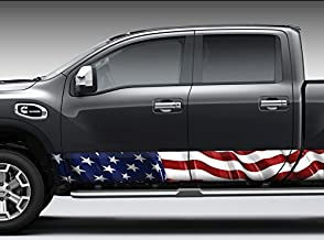 American Flag Waving Rocker Panel Graphic Decal Wrap Kit for Truck SUV (12 inch x 30 foot)