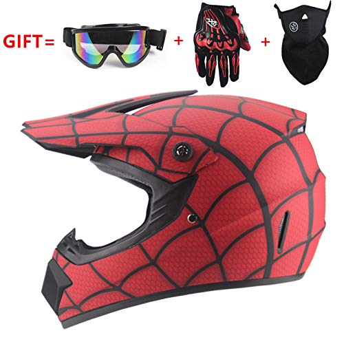 HNLong Motocross Helm Mountainbike Integralhelm Reiten Spiderman Helm Integralhelm Motorcycle-red_M