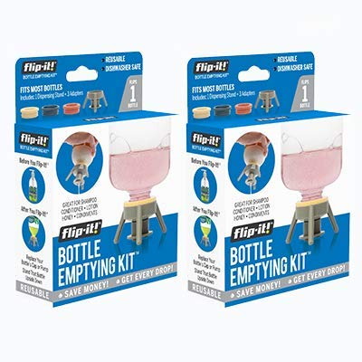 Flip-It! Bottle Emptying Kit, BPA Free - Dishwasher Safe (2 Pack, Pastel Colors)