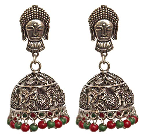 Pahal - Juego de joyas de boda india con diseño de buda, color rojo y verde