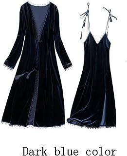 GAOLILI 秋と冬セクシーなナイトドレスレースナイトドレスホームサービスバスローブパジャマツーピースセット