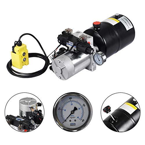 ECO LLC 6 Quart Double Acting 12V Hydraulic Power Unit 3200 PSI Max. Hydraulic Pump DC 12V Dump Trailer with Hydraulic Pressure Gauge(Round, with Steel Reservoir)