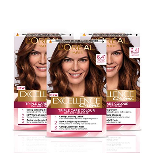 L Oréal Paris Excellence Crème Permanent Hair Dye, Radiant At-Home Hair Colour with up to 100% Grey Coverage, Pro-Keratin, Up to 8 Weeks of Colour, Pack of 3, Colour: 6.41 Natural Hazel