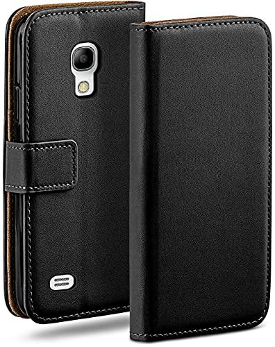 moex Klapphülle kompatibel mit Samsung Galaxy S4 Hülle klappbar, Handyhülle mit Kartenfach, 360 Grad Flip Case, Vegan Leder Handytasche, Schwarz