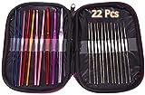 Nac Global™ 22Pcs Multicolor Aluminum Crochet Hooks Knitting Needles Set with Case