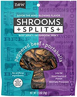 Shrooms Splits: Mushroom Jerky and Beef Jerky Mix | Superfood, Low Fat, Dairy Free Snack | Peppered Beef and Portabella