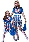 IKALI Disfraz de animadora zombie para niña, High School Bloody Fancy Dress Up con traje de pompones