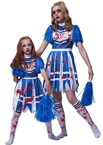 IKALI Girls Zombie Cheerleader Costume, High School Bloody Fancy Dress Up Kids Outfit 10-12Y