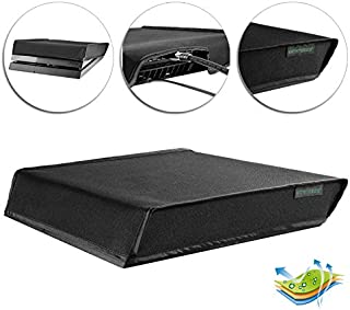 eXtremeRate® Black Horizontal Dust Cover for Playstation 4 PS4 Console Custom Designed Double Layer Soft Neat Lining Water...