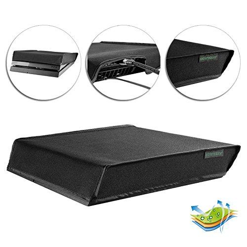 eXtremeRate Prueba de Polvo para PS4 Consola Funda Cubierta Protectora Horizontal Diseño de Doble Capa Forro Corte Preciso Fácil de Acceso los Cables Guardapolvo para Playstation 4 Standard(Negro)