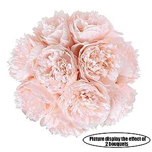 Aonewoe Ramos De Peonía Artificial Elegante 5 Cabezas De Peonía Falsa Seda Simulación De Plástico Artificial Floral con…