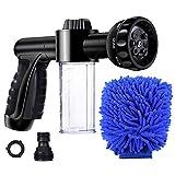 YOROO - Pistola de riego Gardena con 8 modos de riego con dispensador de jabón de 100 cc, para lavado de coche, riego de plantas y ducha de animales de compañía
