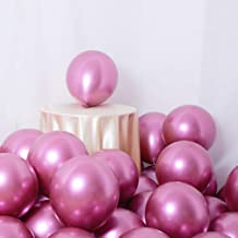 Party Balloons 50 Pcs 12Inch Metallic Chrome Helium Shiny Latex Thicken Balloon Perfect Decoration for Wedding Birthday Baby Shower Graduation Christmas Carnival Party Supplies Pink