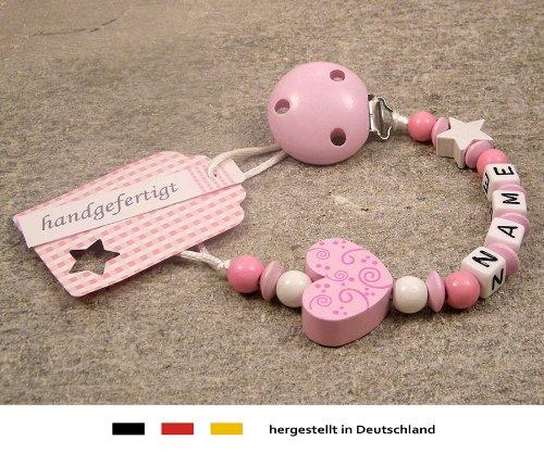 kleinerStorch Baby SCHNULLERKETTE mit Namen - Schnullerhalter mit Wunschnamen - Mädchen Motiv Herz Ornament in rosa