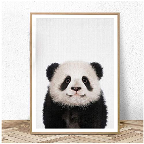 Mmdianpu Baby Panda Print Tier Wandkunst Leinwand Malerei Tiere Poster und Drucke Kinderzimmer Bild für Wohnzimmer Kinderzimmer Home Decor (40x60 cm ohne Rahmen)
