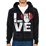 JUN7MING HAT Men's Sleeve Hoodie Alaskan Malamute Dog Lovers Zip Up Sportswear Jackets Black