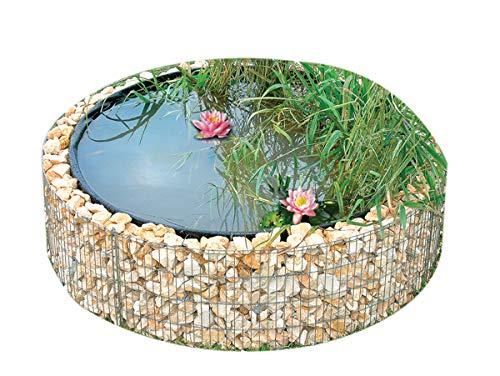 bellissa bassin surélevé en gabion - 95577 - bassin de jardin, bâche de bassin et film de séparation inclus - diamètre 146/126 cm, hauteur 40 cm