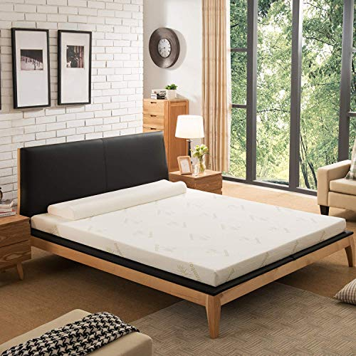 NOFFA Mattress Topper Super King Size,Memory Foam Mattress Topper Includes Removable Cover with Adjustable Straps, 180 x 200 x 5 cm