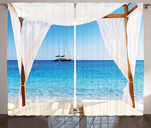 Balinese Curtains, Beach Through Balinese Bed Summer Sunshine Clear Sky Honeymoon Natural Spa Picture, Thermal Insulated Curtains with Print Pattern, Window Curtains for Bedroom Living Room, 2 Panels